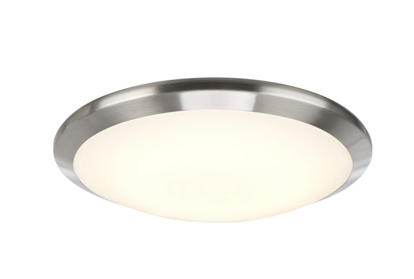 "# 63003S-1 Small LED Flush Mount Light in Satin Nickel with a 12"" diameter Glass Shade"