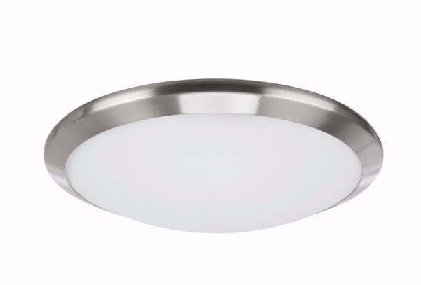 "# 63003S-1 LED Small Flush Mount Ceiling Light Fixture, Contemporary Design, Satin Nickel Finish, Frosted Glass Diffuser, 12"" D"
