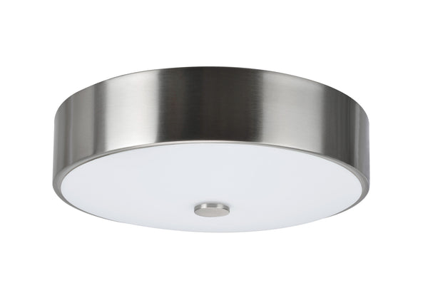 "# 63004S-1 LED Small Flush Mount Ceiling Light Fixture, Contemporary Design, Satin Nickel Finish, Frosted Glass Diffuser, 11"" D"