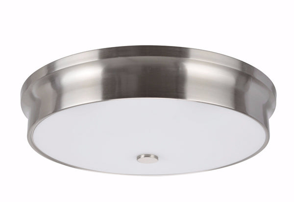 "# 63005L-1 LED Large Flush Mount Ceiling Light Fixture, Contemporary Design, Satin Nickel Finish, Frosted Glass Diffuser, 15"" D"