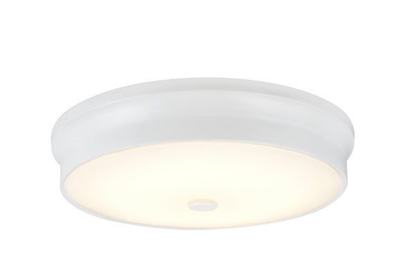 "# 63005L-2 LED Large Flush Mount Ceiling Light Fixture, Contemporary Design in White Finish, Frosted Glass Diffuser, 15"" D"
