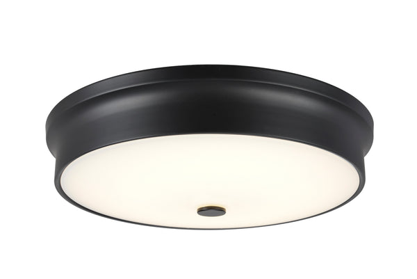 "# 63005L-3 LED Large Flush Mount Ceiling Light Fixture, Contemporary Design in Black Finish, Frosted Glass Diffuser, 15"" D"