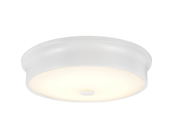 "# 63005S-2 LED Small Flush Mount Ceiling Light Fixture, Contemporary Design in a White Finish, Frosted Glass Diffuser, 12"" D"