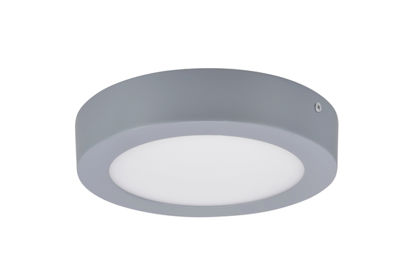 "# 63006M-2 LED Medium Flush Mount Ceiling Light Fixture, Contemporary Design in Silver Finish, Frosted Glass Diffuser, 7"" D"