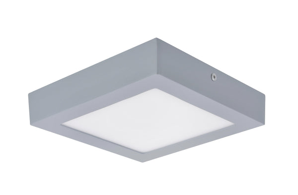 "# 63007M-2 LED  Flush Mount Ceiling Light Fixture, Contemporary Design in Silver Finish, Frosted Glass Diffuser, 7"" Square"