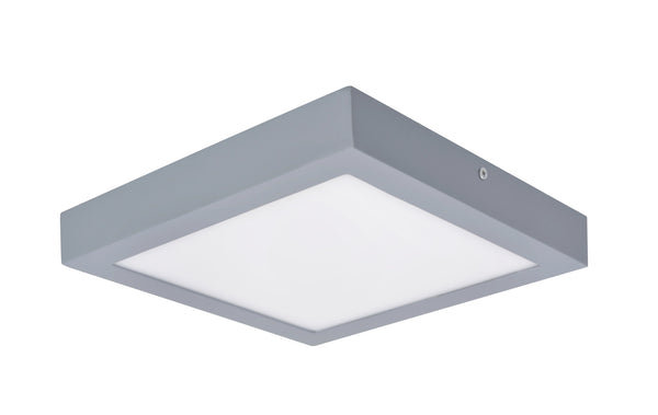 "# 63007L-2 LED  Flush Mount Ceiling Light Fixture, Contemporary Design in Silver Finish, Frosted Glass Diffuser, 9"" Square"