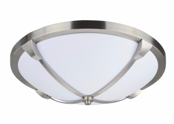 # 63008L LED Large Flush Mount Ceiling Light Fixture, Contemporary Design, Satin Nickel, Milk White Acrylic Diffuser, 16