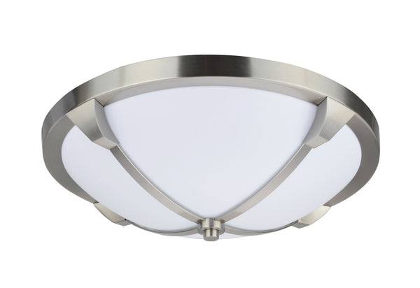 "# 63008S  LED Small Flush Mount Ceiling Light Fixture, Contemporary Design, Satin Nickel, Milk White Acrylic Diffuser, 14"" D"