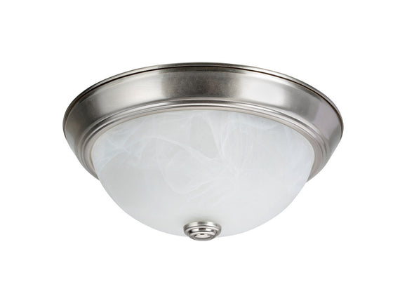 # 63013-1 2 Light Flush Mount Ceiling Light Fixture, Transitional Design, Brushed Nickel, White Alabaster Glass Diffuser, 11