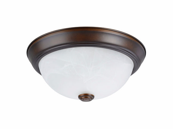 # 63013-2 2 Light Flush Mount Ceiling Light Fixture, Transitional Design, Bronze, White Alabaster Glass Diffuser, 11