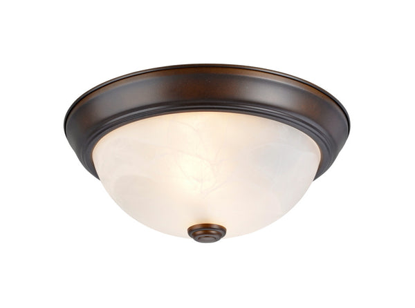 "# 63013-2 2 Light Flush Mount Ceiling Light Fixture, Transitional Design, Bronze, White Alabaster Glass Diffuser, 11"" D"