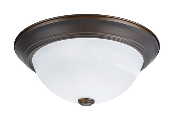 "# 63014-2 2 Light Flush Mount Ceiling Light Fixture, Transitional Design in Bronze Finish, White Alabaster Glass Diffuser, 13"" D"