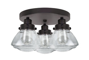 "# 63015, 3 Light Flush Mount Ceiling Light Fixture, Transitional Design in Black Finish with Clear Seedy Glass, 14"" Wide"