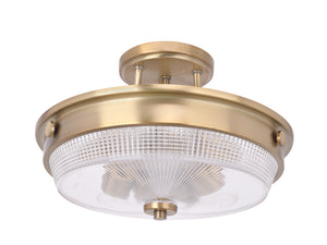 "# 63502-2 3 Light Semi Flush Mount Ceiling Light Fixture, Transitional Design in Heirloom Brass Finish, Patterned Glass Shade, 13"" Diameter"