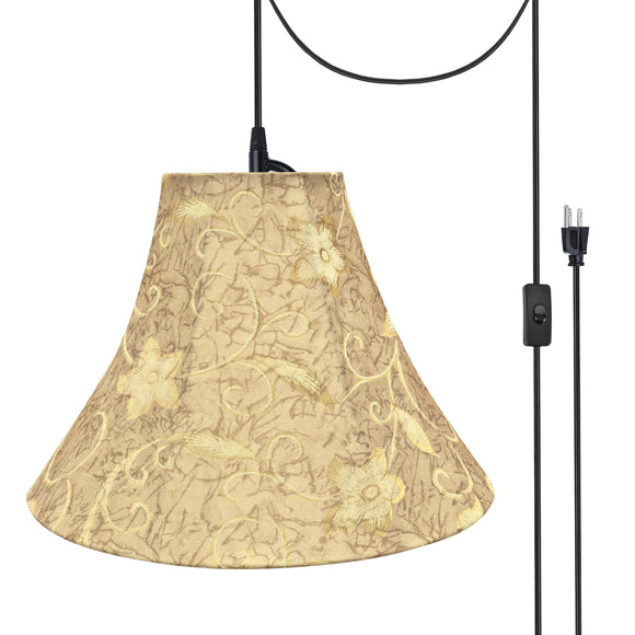 # 70084-21 One-Light Plug-In Swag Pendant Light Conversion Kit with Transitional Bell Fabric Lamp Shade, Brown, 16