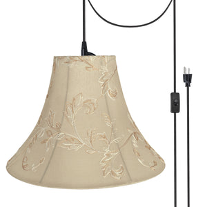 "# 70085-21 One-Light Plug-In Swag Pendant Light Conversion Kit with Transitional Bell Fabric Lamp Shade, Apricot, 16"" width"