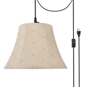 "# 70097-21 One-Light Plug-In Swag Pendant Light Conversion Kit with Transitional Bell Fabric Lamp Shade, Beige, 13"" width"