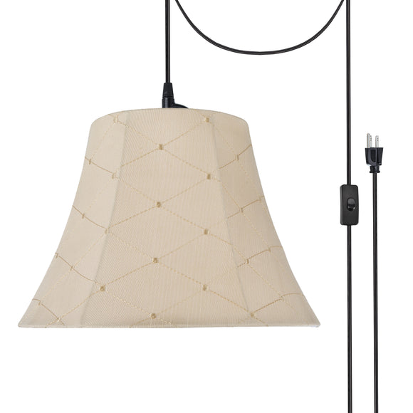 # 70097-21 One-Light Plug-In Swag Pendant Light Conversion Kit with Transitional Bell Fabric Lamp Shade, Beige, 13