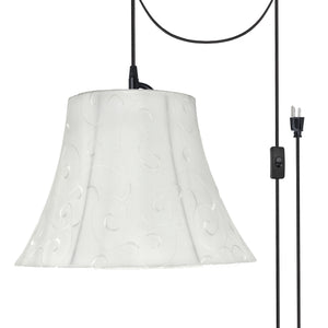 "# 70098-21 One-Light Plug-In Swag Pendant Light Conversion Kit with Transitional Bell Fabric Lamp Shade, Beige, 13"" width"