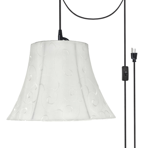 # 70098-21 One-Light Plug-In Swag Pendant Light Conversion Kit with Transitional Bell Fabric Lamp Shade, Beige, 13