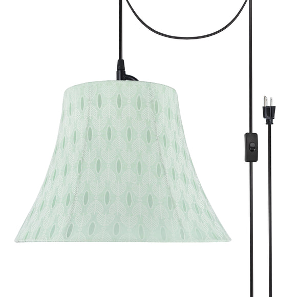 # 70099-21 One-Light Plug-In Swag Pendant Light Conversion Kit with Transitional Bell Fabric Lamp Shade, Light Green, 13