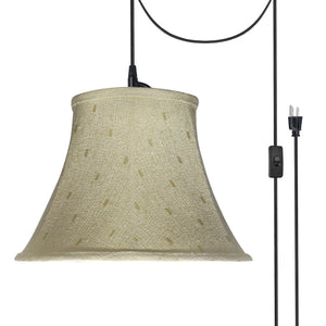 "# 70100-21 One-Light Plug-In Swag Pendant Light Conversion Kit with Transitional Bell Fabric Lamp Shade, Camel, 13"" width"