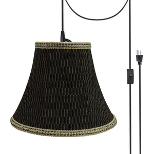 "# 70157-21 One-Light Plug-In Swag Pendant Light Conversion Kit with Transitional Bell Fabric Lamp Shade, Black & Brown, 12"" width"