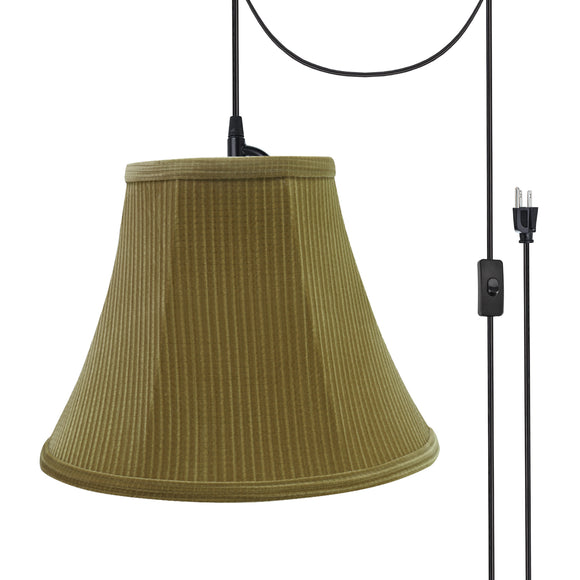 # 70159-21 One-Light Plug-In Swag Pendant Light Conversion Kit with Transitional Bell Fabric Lamp Shade, Brown-Green, 12