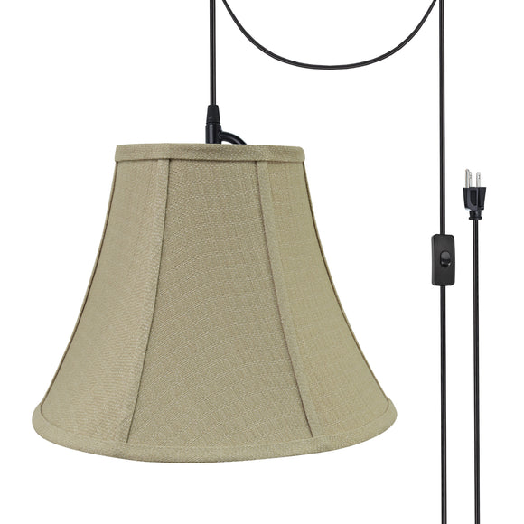 # 70160-21 One-Light Plug-In Swag Pendant Light Conversion Kit with Transitional Bell Fabric Lamp Shade, Beige, 12