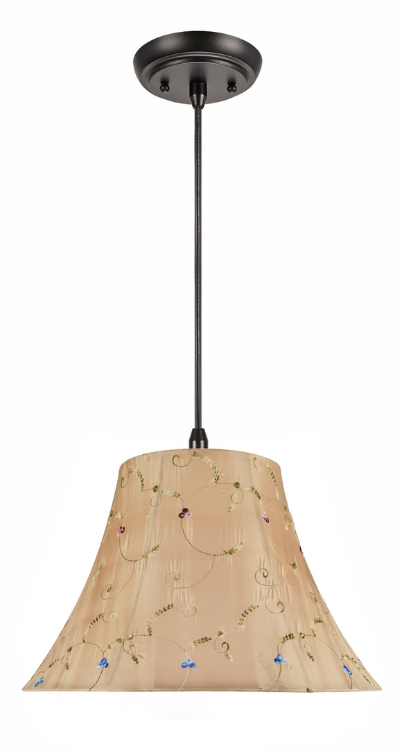 # 70181-11 Two-Light Hanging Pendant Ceiling Light with Transitional Bell Fabric Lamp Shade, Gold, 17
