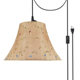 "# 70181-21 Two-Light Plug-In Swag Pendant Light Conversion Kit with Transitional Bell Fabric Lamp Shade, Gold, 17"" width"