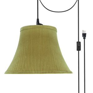 "# 70211-21 One-Light Plug-In Swag Pendant Light Conversion Kit with Transitional Bell Fabric Lamp Shade, Brown-Green, 13"" width"