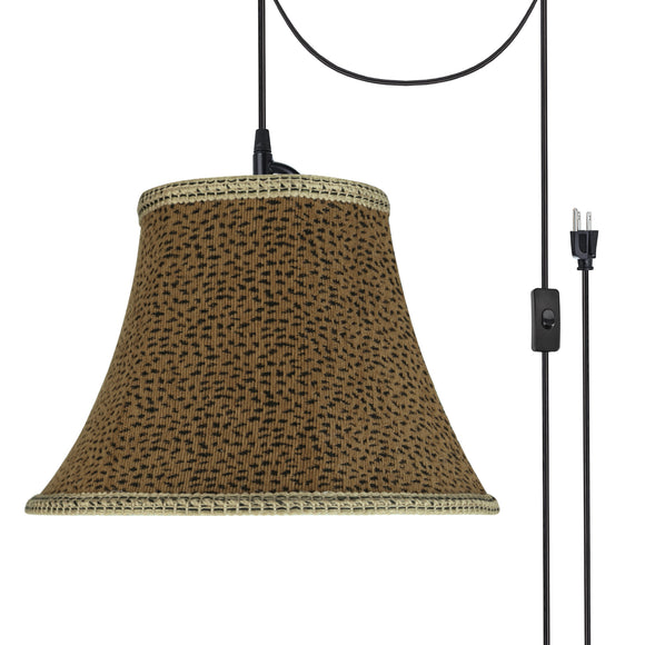 # 70212-21 One-Light Plug-In Swag Pendant Light Conversion Kit with Transitional Bell Fabric Lamp Shade, Leopard, 13