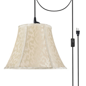"# 70213-21 One-Light Plug-In Swag Pendant Light Conversion Kit with Transitional Bell Fabric Lamp Shade, Off White, 13"" width"