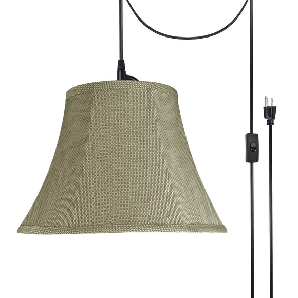 # 70214-21 One-Light Plug-In Swag Pendant Light Conversion Kit with Transitional Bell Fabric Lamp Shade, Light Beige, 13