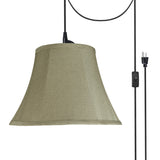 "# 70214-21 One-Light Plug-In Swag Pendant Light Conversion Kit with Transitional Bell Fabric Lamp Shade, Light Beige, 13"" width"