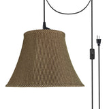 "# 70215-21 One-Light Plug-In Swag Pendant Light Conversion Kit with Transitional Bell Fabric Lamp Shade, Brown, 13"" width"