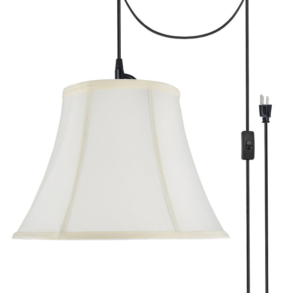 # 70216-21 One-Light Plug-In Swag Pendant Light Conversion Kit with Transitional Bell Fabric Lamp Shade, Off White, 13