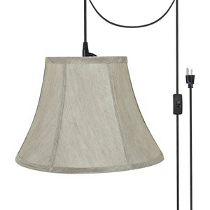 "# 70218-21 One-Light Plug-In Swag Pendant Light Conversion Kit with Transitional Bell Fabric Lamp Shade, Silver-Grey, 13"" width"