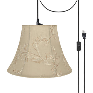 "# 70219-21 One-Light Plug-In Swag Pendant Light Conversion Kit with Transitional Bell Fabric Lamp Shade, Apricot, 13"" width"