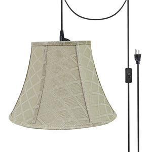 "# 70222-21 One-Light Plug-In Swag Pendant Light Conversion Kit with Transitional Bell Fabric Lamp Shade, Off White, 13"" width"