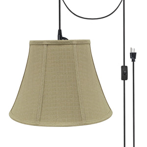 "# 70223-21 One-Light Plug-In Swag Pendant Light Conversion Kit with Transitional Bell Fabric Lamp Shade, Beige, 13"" width"