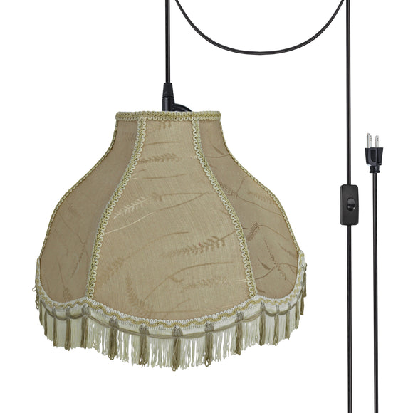 # 70301-21 One-Light Plug-In Swag Pendant Light Conversion Kit with Transitional Scallop Bell Fabric Lamp Shade, Off White, 17