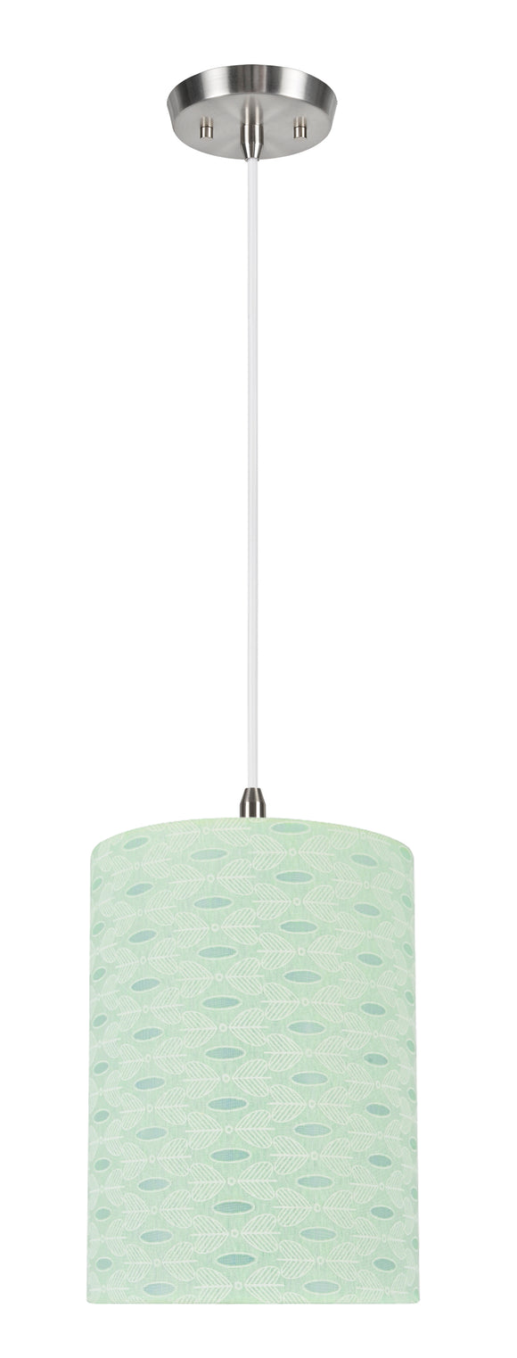 # 71032-11 One-Light Hanging Pendant Ceiling Light with Transitional Drum Fabric Lamp Shade, Light Green, 8