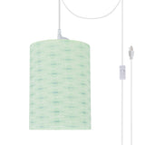 "# 71032-21 One-Light Plug-In Swag Pendant Light Conversion Kit with Transitional Drum Fabric Lamp Shade, Light Green, 8"" width"