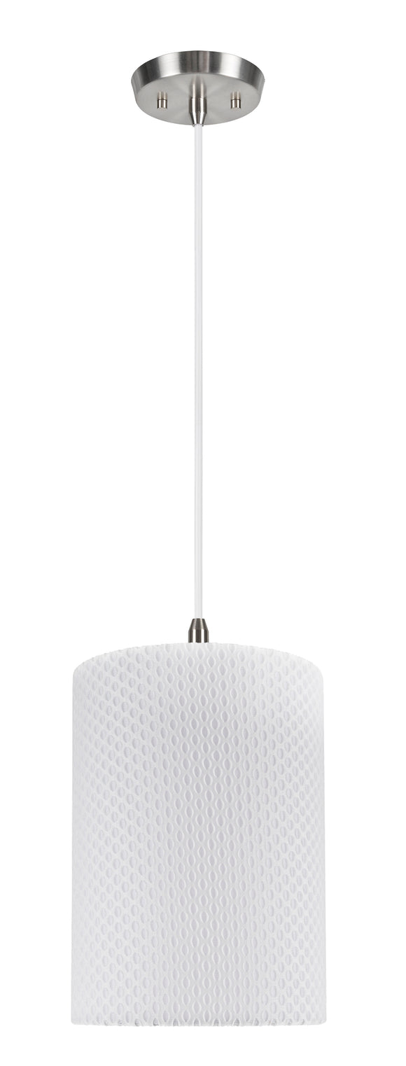 # 71033-11 One-Light Hanging Pendant Ceiling Light with Transitional Drum Fabric Lamp Shade, Off White, 8