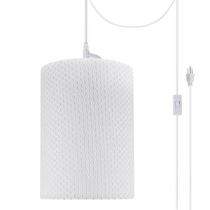"# 71033-21 One-Light Plug-In Swag Pendant Light Conversion Kit with Transitional Drum Fabric Lamp Shade, Off White, 8"" width"