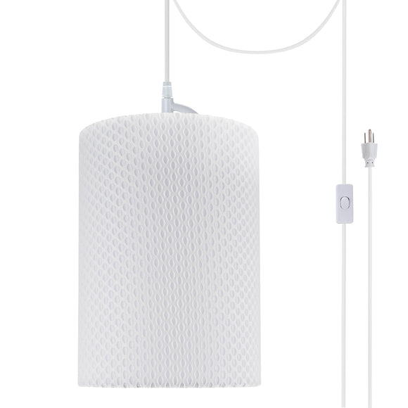 # 71033-21 One-Light Plug-In Swag Pendant Light Conversion Kit with Transitional Drum Fabric Lamp Shade, Off White, 8