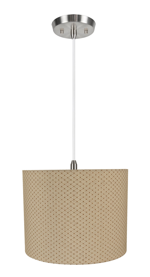 # 71038-11 One-Light Hanging Pendant Ceiling Light with Transitional Hardback Drum Fabric Lamp Shade, Beige, 14