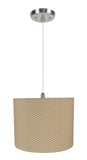 "# 71038-11 One-Light Hanging Pendant Ceiling Light with Transitional Hardback Drum Fabric Lamp Shade, Beige, 14"" width"